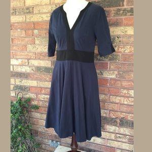 Eshakti 10 M Blue Black Sleeved Dress Pockets Knee